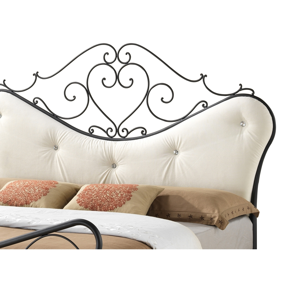 Baxton Studio Alanna Queen Size Shabby Chic Metal Platform Bed With Beige Tufted