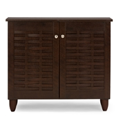 Baxton Studio Winda Modern and Contemporary 2-Door Dark Brown Wooden Entryway Shoes Storage Cabinet Baxton Studio Winda Modern and Contemporary 2-Door Dark Brown Wooden Entryway Shoes Storage Cabinet , wholesale furniture, restaurant furniture, hotel furniture, commercial furniture