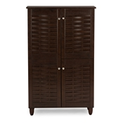 Baxton Studio Winda Modern and Contemporary 4-Door Dark Brown Wooden Entryway Shoes Storage Cabinet Baxton Studio Winda Modern and Contemporary 4-Door Dark Brown Wooden Entryway Shoes Storage Cabinet , wholesale furniture, restaurant furniture, hotel furniture, commercial furniture