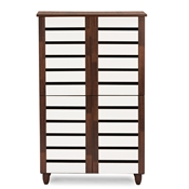 Baxton Studio Gisela Oak and White 2-tone Shoe Cabinet With 4 Door Baxton Studio Gisela Oak and White 2-tone Shoe Cabinet With 4 Door, wholesale furniture, restaurant furniture, hotel furniture, commercial furniture