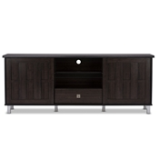 Baxton Studio Unna 70-Inch Dark Brown Wood TV Cabinet with 2 Sliding Doors and Drawer Baxton Studio Unna 70-Inch Dark Brown Wood TV Cabinet with 2 Sliding Doors and Drawer , wholesale furniture, restaurant furniture, hotel furniture, commercial furniture