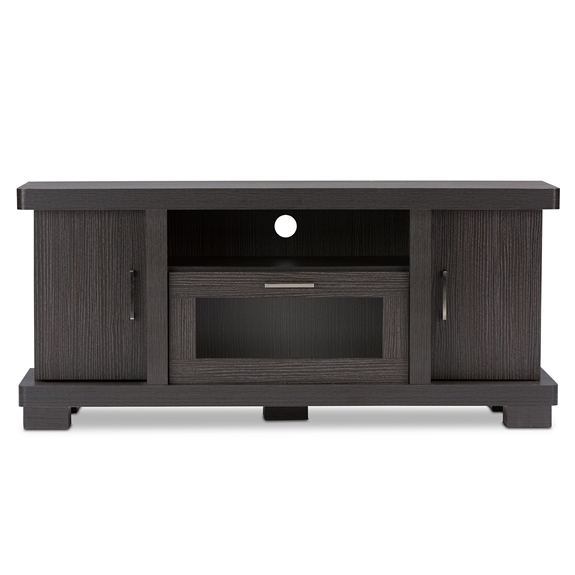 Baxton Studio Viveka 47-Inch Dark Brown Wood TV Cabinet with 2 Doors