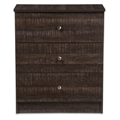 Baxton Studio Decon Modern and Contemporary Espresso Brown Wood 3-Drawer Storage Chest Baxton Studio restaurant furniture, hotel furniture, commercial furniture, wholesale bedroom furniture, wholesale dressers, classic dressers, cheap dressers