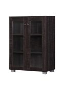Baxton Studio Mason Modern and Contemporary Dark Brown Multipurpose Storage Cabinet Sideboard with Two Class Doors