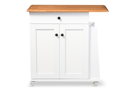 Baxton Studio Balmore Modern and Contemporary Two-tone White and Dark Brown Lacquered Wood Kitchen Cart Trolley Cabinet Baxton Studio restaurant furniture, hotel furniture, commercial furniture, wholesale dining room furniture, wholesale kitchen cart, classic kitchen cart