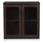 Baxton Studio Zentra Modern and Contemporary Dark Brown Sideboard Storage Cabinet with Glass Doors Baxton Studio restaurant furniture, hotel furniture, commercial furniture, wholesale dining room furniture, wholesale buffets and sideboards, classic buffets and sideboards