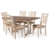 Baxton Studio Roseberry Shabby Chic French Country Cottage Antique Oak Wood and Distressed White 7-Piece Dining Set with Trestle Base 60-Inch Fixed Top Dining Table Baxton Studio restaurant furniture, hotel furniture, commercial furniture, wholesale dining room furniture, wholesale dining sets, classic dining sets