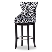 Baxton Studio Peace Modern and Contemporary Zebra-print Patterned Fabric Upholstered Bar Stool with Metal Footrest Baxton Studio restaurant furniture, hotel furniture, commercial furniture, wholesale bar furniture, wholesale bar stools, wholesale counter height, classic bar stools