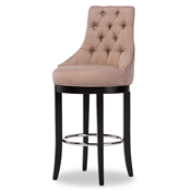 Baxton Studio Harmony Modern and Contemporary Button-tufted Beige Fabric Upholstered Bar Stool with Metal Footrest Baxton Studio restaurant furniture, hotel furniture, commercial furniture, wholesale bar furniture, wholesale bar stools, wholesale counter height, classic bar stools