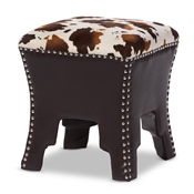 Baxton Studio Sally Modern and Contemporary Cow-print Patterned Fabric Brown Faux Leather Upholstered Accent Stool with Nail heads Baxton Studio restaurant furniture, hotel furniture, commercial furniture, wholesale living room furniture, wholesale bench, wholesale ottoman bench, classic ottoman bench