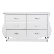 Baxton Studio Enzo Modern and Contemporary White Faux Leather 6-Drawer Dresser Baxton Studio restaurant furniture, hotel furniture, commercial furniture, wholesale bedroom furniture, wholesale dressers, classic dressers