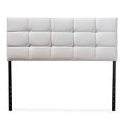Baxton Studio Bordeaux Modern and Contemporary White Faux Leather Queen Size Headboard Baxton Studio restaurant furniture, hotel furniture, commercial furniture, wholesale bedroom furniture, wholesale headboards, classic headboard