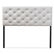 Baxton Studio Viviana Modern and Contemporary White Faux Leather Upholstered Button-tufted Queen Size Headboard Baxton Studio restaurant furniture, hotel furniture, commercial furniture, wholesale bedroom furniture, wholesale headboards, classic headboard