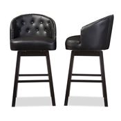 Baxton Studio Avril Modern and Contemporary Black Faux Leather Tufted Swivel Barstool with Nail heads Trim Baxton Studio restaurant furniture, hotel furniture, commercial furniture, wholesale bar furniture, wholesale bar stools, classic bar stools