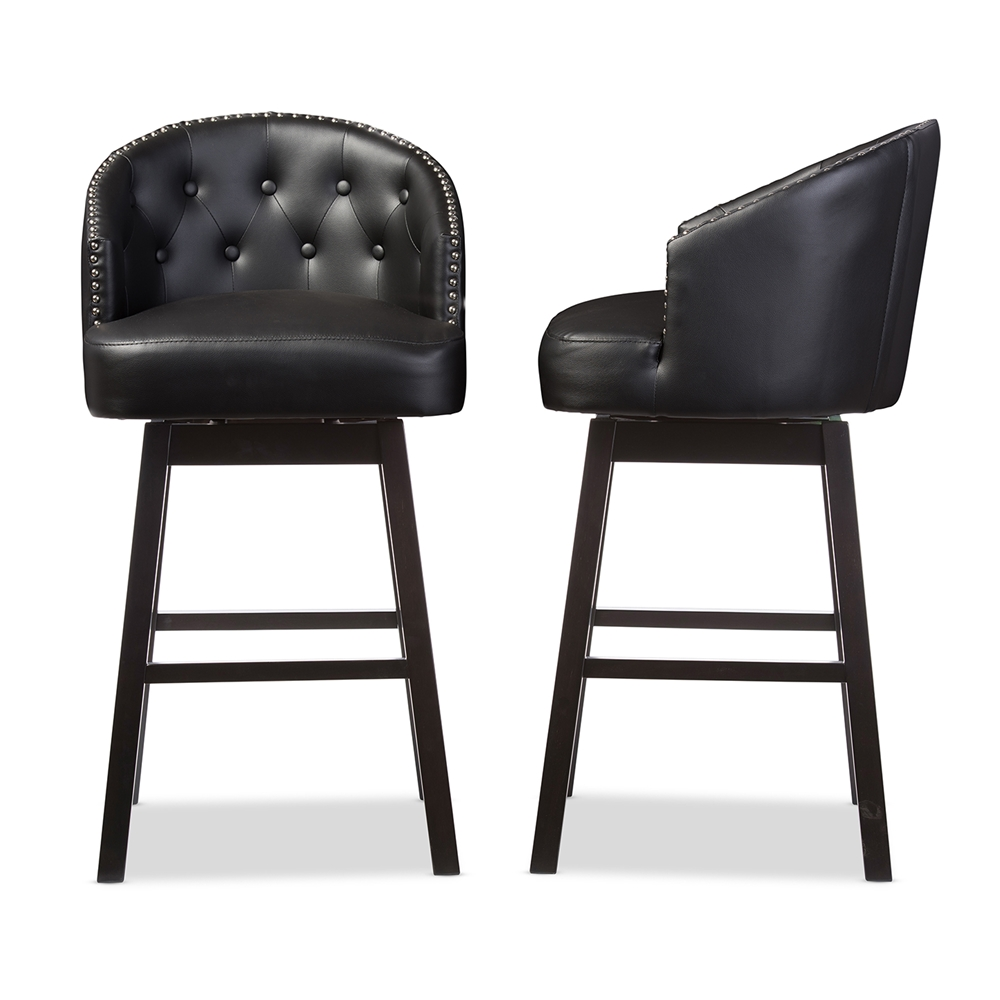 black leather bar stools Baxton Studio Avril Modern and Contemporary Black Faux Leather  black leather bar stools