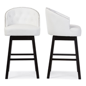 Baxton Studio Avril Modern and Contemporary White Faux Leather Tufted Swivel Barstool with Nail heads Trim Baxton Studio restaurant furniture, hotel furniture, commercial furniture, wholesale bar furniture, wholesale bar stools, classic bar stools