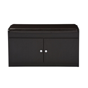 Baxton Studio Margaret Modern and Contemporary Dark Brown Wood 2-Door Shoe Cabinet with Faux Leather Seating Bench Baxton Studio restaurant furniture, hotel furniture, commercial furniture, wholesale foyer furniture, wholesale shoe Racks, classic shoe racks