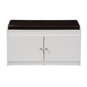 Baxton Studio Margaret Modern and Contemporary White Wood 2-Door Shoe Cabinet with Faux Leather Seating Bench Baxton Studio restaurant furniture, hotel furniture, commercial furniture, wholesale foyer furniture, wholesale shoe Racks, classic shoe racks