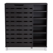 Baxton Studio Shirley Modern and Contemporary Dark Brown Wood 2-Door Shoe Cabinet with Open Shelves Baxton Studio restaurant furniture, hotel furniture, commercial furniture, wholesale foyer furniture, wholesale shoe Racks, classic shoe racks
