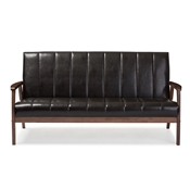 Baxton Studio Nikko Mid-century Modern Scandinavian Style Dark Brown Faux Leather Wooden 3-Seater Sofa