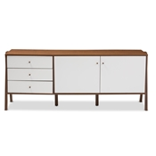 Baxton Studio Harlow Mid-century Modern Scandinavian Style White and Walnut Wood Sideboard Storage Cabinet Baxton Studio restaurant furniture, hotel furniture, commercial furniture, wholesale dining room furniture, wholesale buffets and sideboards, classic buffets and sideboards