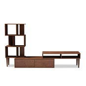 Baxton Studio Haversham Mid-century Retro Modern TV Stand Entertainment Center and Display Unit Baxton Studio restaurant furniture, hotel furniture, commercial furniture, wholesale living room furniture, wholesale entertainmnet centers, wholesale TV stands, classic TV stands, cheap TV stands
