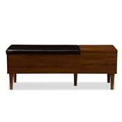 Baxton Studio Merrick Mid-century Retro Modern 1-drawer 2-tone Oak and Dark Brown Wood Entryway Storage Cushioned Bench Shoe Rack Cabinet Organizer Baxton Studio restaurant furniture, hotel furniture, commercial furniture, wholesale foyer furniture, wholesale shoe Racks, classic shoe racks
