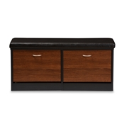 Baxton Studio Foley Modern and Contemporary 2-tone Dark Brown and Oak Finishing Entryway Storage Cushioned Bench Shoe Rack Cabinet Organizer Baxton Studio restaurant furniture, hotel furniture, commercial furniture, wholesale foyer furniture, wholesale shoe Racks, classic shoe racks