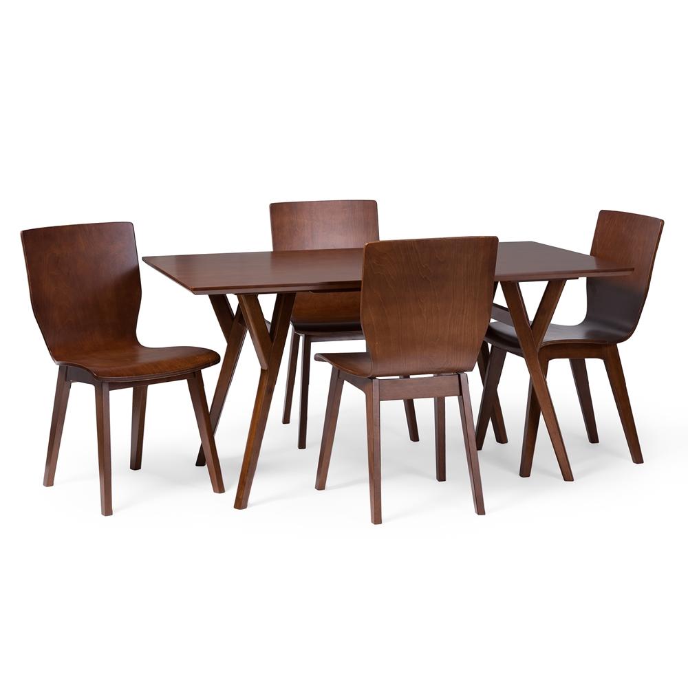 Baxton studio elsa mid century modern scandinavian style dark walnut bent wood dining table - Scandinavian style dining table ...