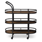 Baxton Studio Karlin Rustic Industrial Style Antique Black Textured Finish Metal Distressed Wood Mobile Kitchen Bar Serving Wine Cart Baxton Studio restaurant furniture, hotel furniture, commercial furniture, wholesale dining room furniture, wholesale wine cabinets, classic wine cabinets