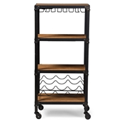 Baxton Studio Swanson Rustic Industrial Style Antique Black Textured Finish Metal Distressed Wood Mobile Kitchen Bar Wine Storage Shelf Baxton Studio restaurant furniture, hotel furniture, commercial furniture, wholesale dining room furniture, wholesale wine cabinets, classic wine cabinets