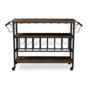 Baxton Studio Bradford Rustic Industrial Style Antique Black Textured Finish Metal Distressed Wood Mobile Kitchen Bar Serving Wine Cart Baxton Studio restaurant furniture, hotel furniture, commercial furniture, wholesale dining room furniture, wholesale wine cabinets, classic wine cabinets