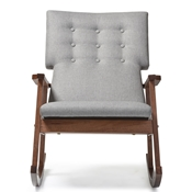 Baxton Studio Agatha Mid-century Modern Grey Fabric Upholstered Button-tufted Rocking Chair Baxton Studio restaurant furniture, hotel furniture, commercial furniture, wholesale living room furniture, wholesale rocking chairs, classic rocking chairs
