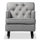 Baxton Studio Bethany Modern and Contemporary Grey Fabric Upholstered Button-tufted Rocking Chair Baxton Studio restaurant furniture, hotel furniture, commercial furniture, wholesale living room furniture, wholesale rocking chairs, classic rocking chairs