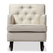 Baxton Studio Bethany Modern and Contemporary Light Beige Fabric Upholstered Button-tufted Rocking Chair Baxton Studio restaurant furniture, hotel furniture, commercial furniture, wholesale living room furniture, wholesale rocking chairs, classic rocking chairs