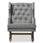 Baxton Studio Iona Mid-century Retro Modern Grey Fabric Upholstered Button-tufted Wingback Rocking Chair Baxton Studio restaurant furniture, hotel furniture, commercial furniture, wholesale living room furniture, wholesale rocking chairs, classic rocking chairs
