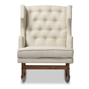 Baxton Studio Iona Mid-century Retro Modern Light Beige Fabric Upholstered Button-tufted Wingback Rocking Chair Baxton Studio restaurant furniture, hotel furniture, commercial furniture, wholesale living room furniture, wholesale rocking chairs, classic rocking chairs