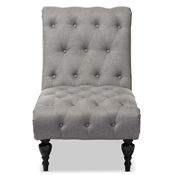 Baxton Studio Layla Mid-century Retro Modern Grey Fabric Upholstered Button-tufted Chaise Lounge Baxton Studio restaurant furniture, hotel furniture, commercial furniture, wholesale living room furniture, wholesale Chaise Lounges, classic chaise lounges