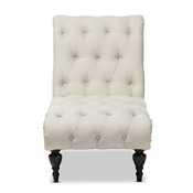 Baxton Studio Layla Mid-century Modern Light Beige Fabric Upholstered Button-tufted Chaise Lounge Baxton Studio restaurant furniture, hotel furniture, commercial furniture, wholesale living room furniture, wholesale Chaise Lounges, classic chaise lounges