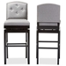 Baxton Studio Ginaro Modern and Contemporary Grey Fabric Button-tufted Upholstered Swivel Bar Stool (Set of 2) - IEBBT5220-Grey Stool (set of 2 )