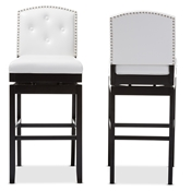 Baxton Studio Ginaro Modern and Contemporary White Faux Leather Button-tufted Upholstered Swivel Bar Stool Baxton Studio restaurant furniture, hotel furniture, commercial furniture, wholesale bar furniture, wholesale bar stools, classic bar stools
