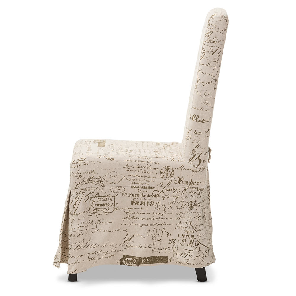 Baxton Studio Picard French Script Beige Linen Modern Dining Chair Iedo6062b Patterned Fabric