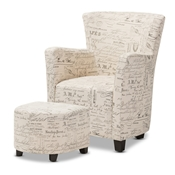 Baxton Studio Benson French Script Patterned Fabric Club Chair and Ottoman Set Baxton Studio restaurant furniture, hotel furniture, commercial furniture, wholesale living room furniture, wholesale chairs, wholesale chair and ottoman, classic chairs and ottoman