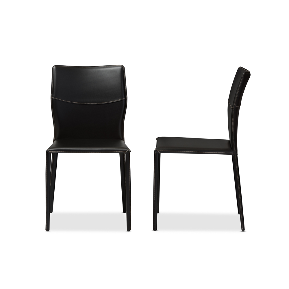 Baxton Studio Asper Modern And Contemporary Black Leather Upholstered Dining Chair Interior Express