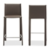 Baxton Studio Crawford Modern and Contemporary Taupe Leather Upholstered Counter Height Stool - IEALC-1822A-65-Taupe (set of 2)