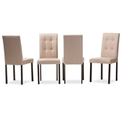 Baxton Studio Andrew Modern and Contemporary Beige Fabric Upholstered Grid-tufting Dining Chair Baxton Studio restaurant furniture, hotel furniture, commercial furniture, wholesale dining room furniture, wholesale dining chairs, classic dining chairs