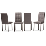 Baxton Studio Andrew Modern and Contemporary Grey Fabric Upholstered Grid-tufting Dining Chair Baxton Studio restaurant furniture, hotel furniture, commercial furniture, wholesale dining room furniture, wholesale dining chairs, classic dining chairs