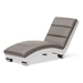 Baxton Studio Percy Modern and Contemporary Grey Fabric and White Faux Leather Upholstered Chaise Lounge - IEBBT5194-Grey/White
