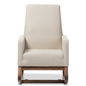 Baxton Studio Yashiya Mid-century Retro Modern Light Beige Fabric Upholstered Rocking Chair Baxton Studio restaurant furniture, hotel furniture, commercial furniture, wholesale living room furniture, wholesale chairs, wholesale rocking chairs, classic rocking chairs