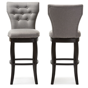 Baxton Studio Leonice Modern and Contemporary Grey Fabric Upholstered Button-tufted 29-Inch Swivel Bar Stool Baxton Studio restaurant furniture, hotel furniture, commercial furniture, wholesale bar furniture, wholesale bar stools, classic bar stools